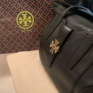 Authentic Tory Burch Black Tote w/Gold Logo